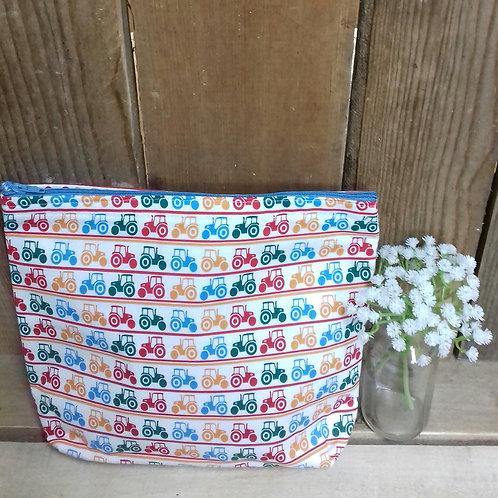 Mixed Coloured Tractors Handmade Fabric Washbag
