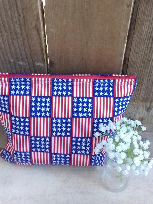 Stars And stripes Handmade fabric Washbag