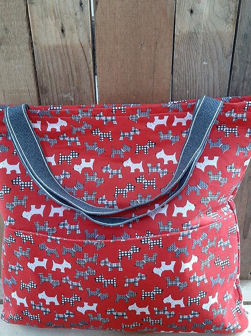 Red Scottie Dog Handmade Fabric Tote bag