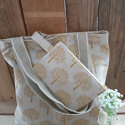 Natural Gold Tree Handmade Fabric Tote Bag And Purse Set