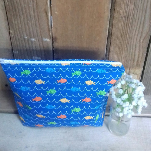 Blue Fun Fish Water Handmade Fabric Wash Bag