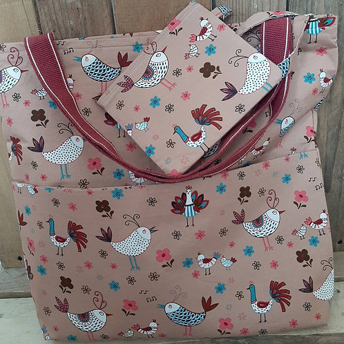 Brown French Hen Handmade Fabric Tote Bag And purse Set