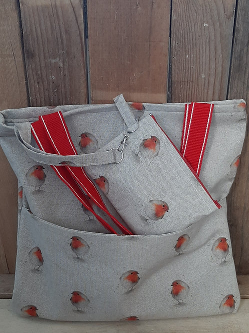Natural Red Robin   Handmade Fabric Tote Bag And Purse Set