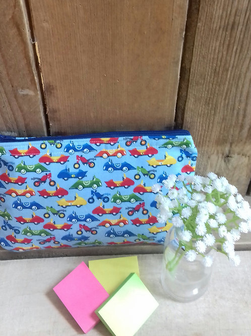 Blue Cars Safari Handmade Fabric Pencil Case