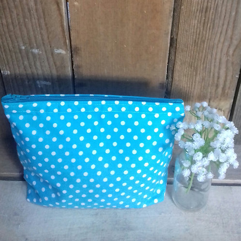 Turquoise & White Candy Spot Handmade Fabric wash Bag
