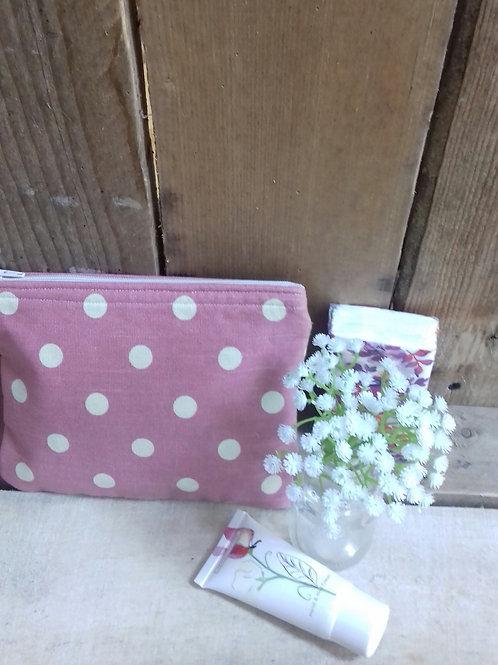 Pink And White Dotty Handmade Fabric  Purse