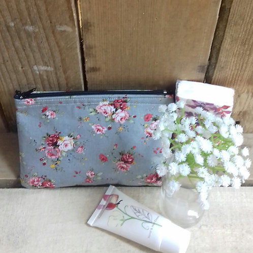 Grey vintage rose handmade fabric purse