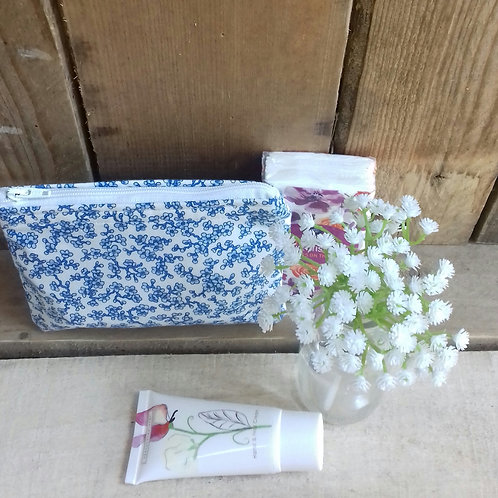 White And Blue ditsy flower handmade purse