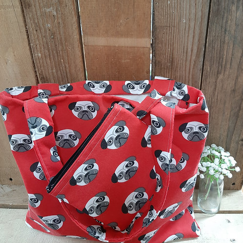 Red Pug Handmade Fabric Tote Bag And purse Set