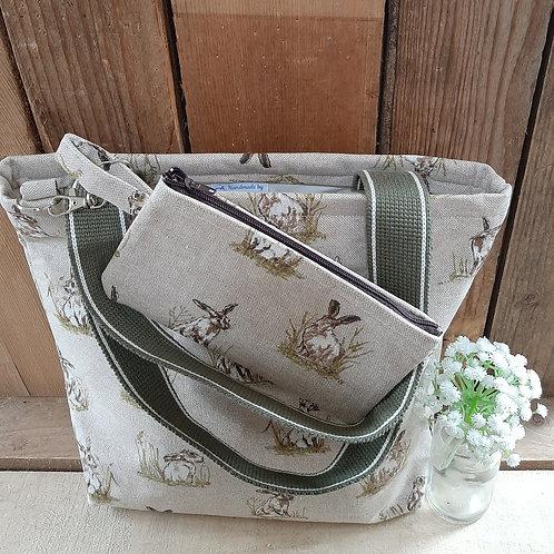 Natural Hare Handmade Fabric Tote Bag And Purse Set