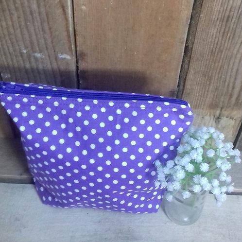 Purple & White Candy Spot Handmade Fabric Wash Bag