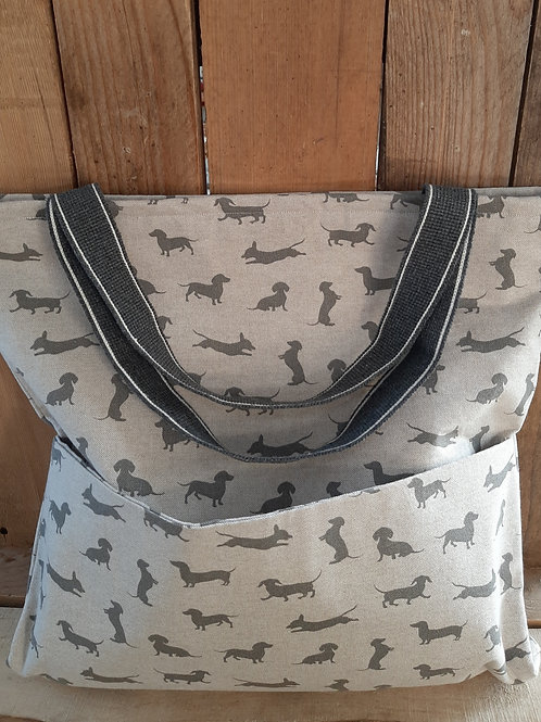 Grey Sausage Dog  Handmade Tote Bag And Purse Set