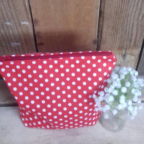 Red & White  Candy Spot Handmade Fabric Wash Bag