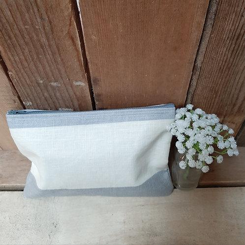 Blue Linen striped Handmade Fabric Zipper Case