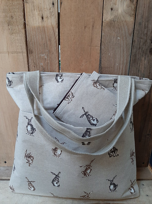 Natural Hare Handmade Fabric Tote Bag And Purse Set