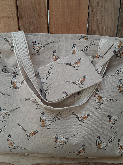 Natural Pheasant Handmade Fabric Tote Bag And Purse Set