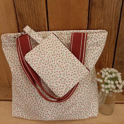Cream Ditsy pink Rose Handmade Fabric Tote Bag and Purse Set