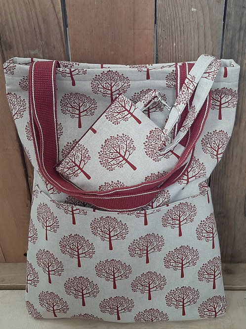 Natural Red Tree   Handmade Fabric Tote Bag And Purse Set