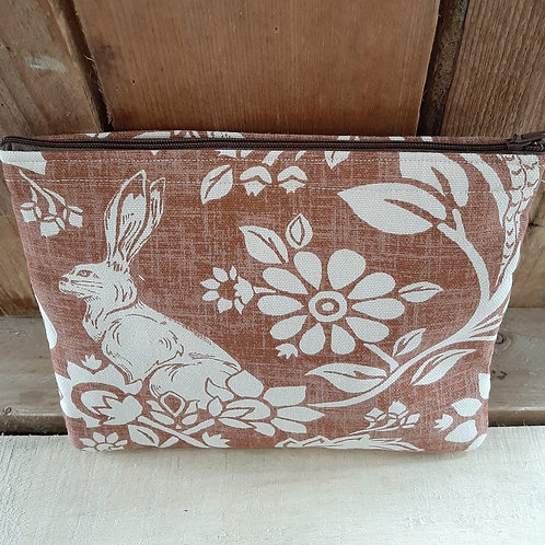 Brown Hares And Pheasant Handmade Fabric Zippered Case