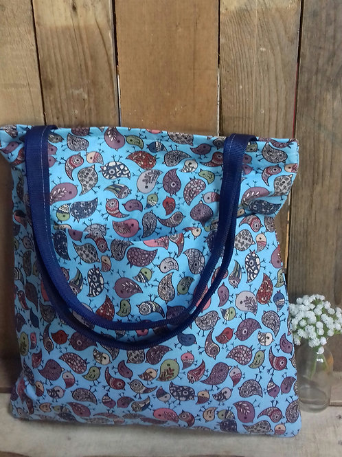 Blue Bird Handmade  Fabric  Tote Bag And Purse Set