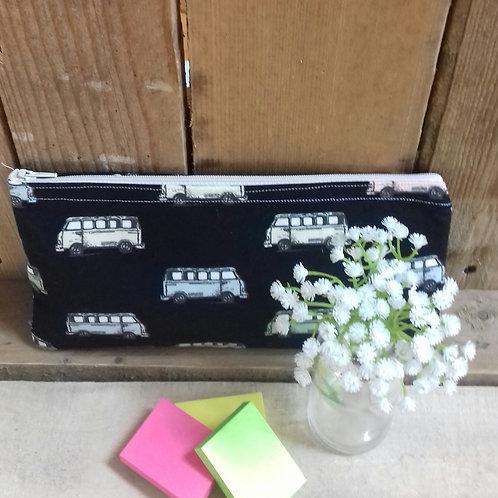 Black Mini Van Handmade Fabric Pencil Case