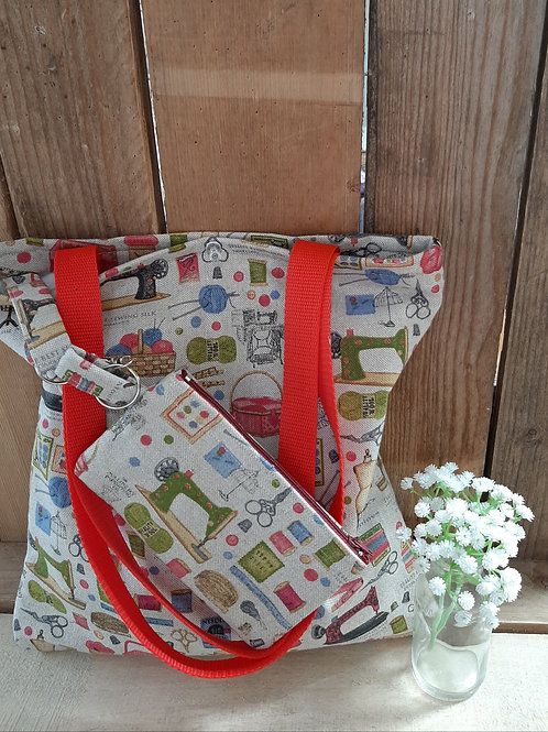 Sewing Themed Handmade Fabric Tote Bag And purse Set