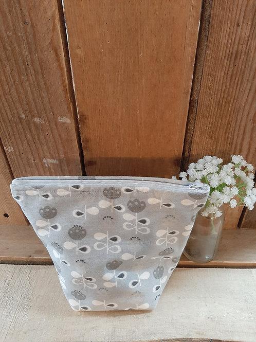 Grey Duck Egg Scandi Flower Handmade Fabric zippered case