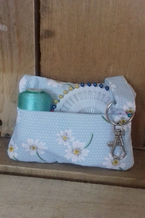 Blue Daisy Flower  Fabric Pincushion