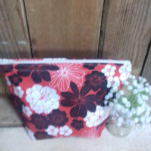 Red And White Flower Handmade Fabric Washbag