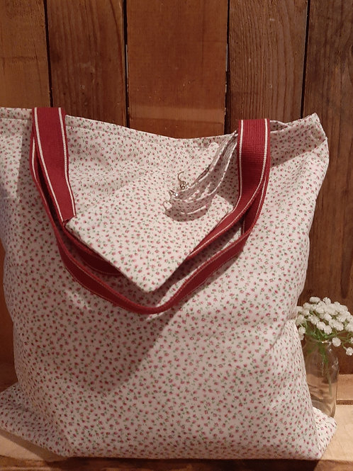 Cream Ditsy pink Rose Handmade Fabric Tote Bag and Purse Set