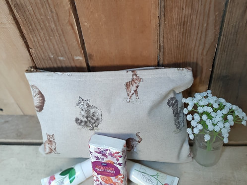 Natural Cat Handmade Fabric Washbag