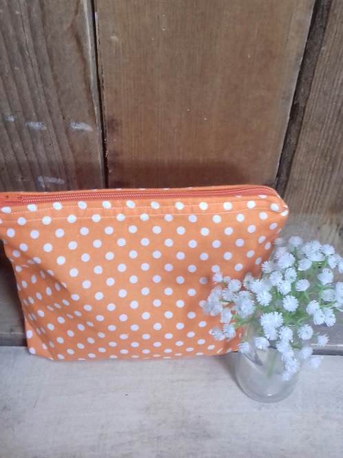 Orange & White Candy Spot Handmade Fabric Washbag