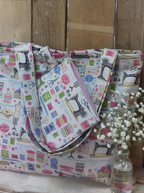 Sewing Themed Handmade Fabric Tote Bag And Craft Zipper Pouch