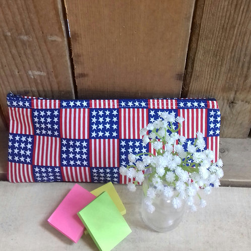 Stars And Stripes Handmade Fabric Pencil Case