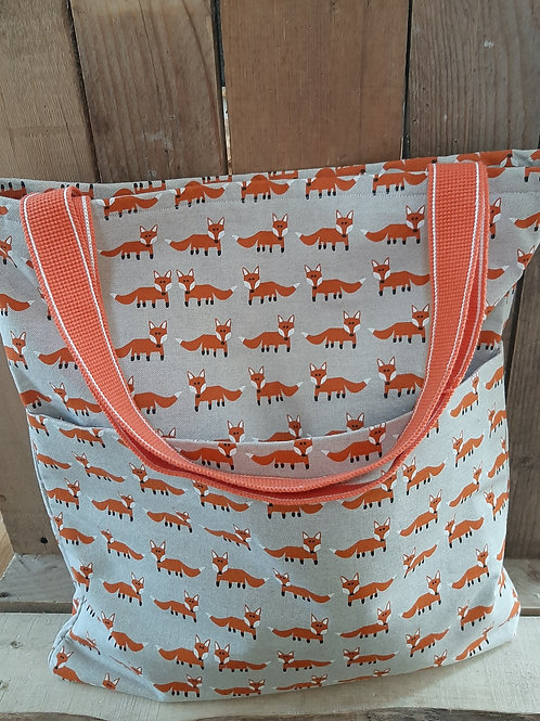 Natural Mr Fox Handmade Fabric Tote Bag And Purse Set