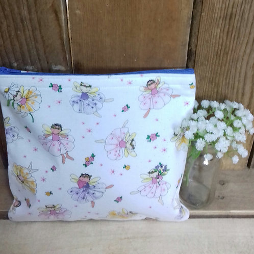 White Flower Fairy Handmade Fabric Washbag