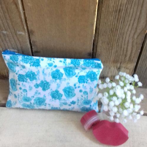 Teal Flower Handmade Fabric Zipper Case