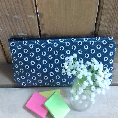 Navy And White Lucky Star Handmade Fabric Pencil Case