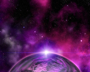 A fictional planet in space in purple and dark red colors