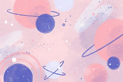 A collection of drawings of planets with rings in a range of soft pink, purple, and blue colors