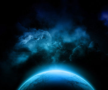 A fictional planet in space in tones of blues