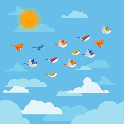 Cartoon drawing of differently colored birds flying through the clouds