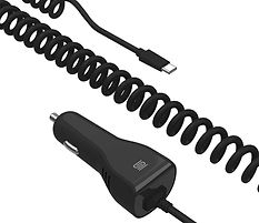 AUTOPOWER PD27C, 27W Car Charger with Built-in Coiled Cable & Type-C Connector (Power Delivery)