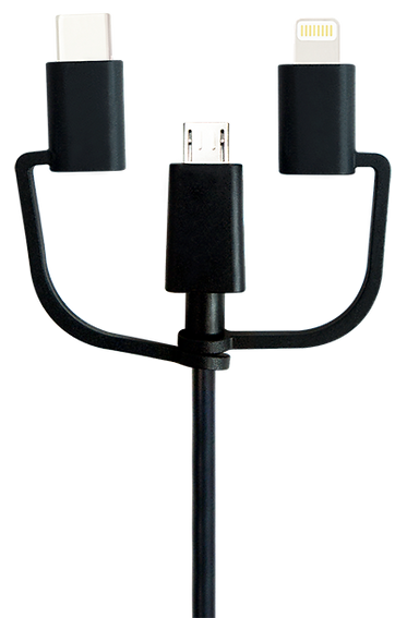 CABLECHARGE MULTI+, Micro USB Cable with Lightning and Type-C Adapters