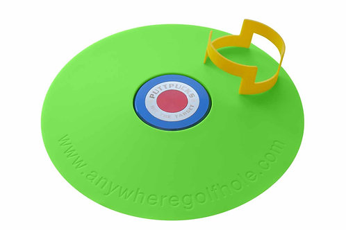 anywheregolfhole in Liquid Green, with PutterCups & PuttPucks Practice Set