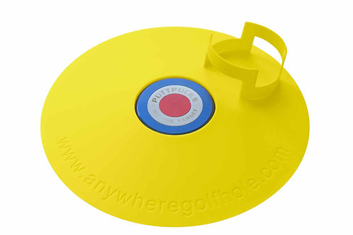 anywheregolfhole in Lightning Yellow, with PutterCups & PuttPucks Practice Set