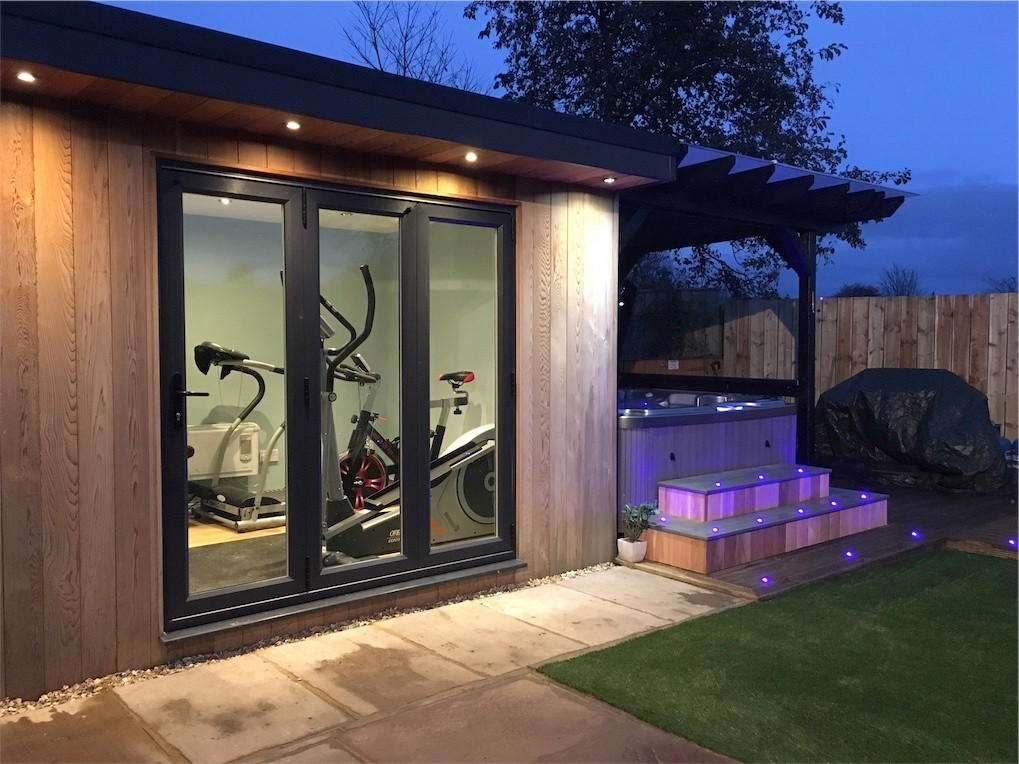 Bespoke gardenroom Gym, Our award winning Fiji 6 seater Hot tub , pergola with clear view poly roof, in built weatherproof tv, Cedar