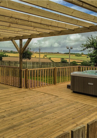 Full decking, pergola and ofcourse our ever popular award winning Fiji 6 seater hot tub.