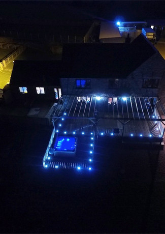 Ariel view with our Fiji spa, decking & pergola in Bishop Auckland, Durham