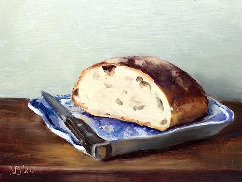 Artisan Bread on a Blue Plate